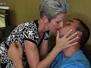 Skinny Mom makes love to her Sons hard cock