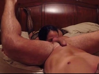 Hot guy gets rimmed by his girlfriend.