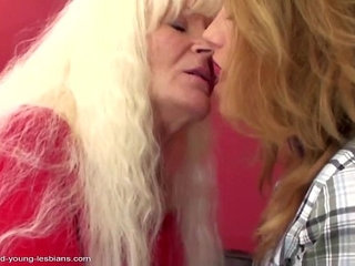 Old lesbian granny fucks young sweet lesbian girl.More